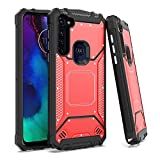 EnCASEs 2 in 1 Cell Phone Case for Motorola Moto G Stylus, Aluminum Evolve Metal Jacket Hybrid Case, Shockproof Bumper Cover, Red