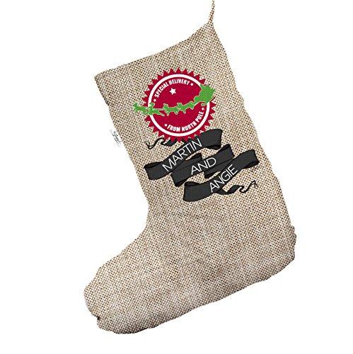 Personalizzato North Pole consegna Jumbo in iuta, calza di Natale sacchetto regalo