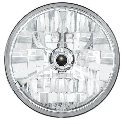 Harley Davidson – verlichting – koplamp Adjure – buitengewone look en nauwkeurigere lichtstraal maken deze koplamp tot een must – uitgerust met een heldere glazen lens en een H-4 lamp, zorgen voor een heldere lichtstraal, die zowel kort als lang zicht helder is – Adjure koplamp Adjure met 7 inch diamantslijping met zwarte punt.