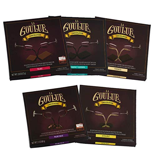 La Goulue| Belgian Milk Chocolates with Malbec| Dark Chocolate w/Cabernet Sauvignon| Torrontes white wine| Champagne truffles| Sweet Malbec| Pairing |Vino| Dessert| fillings| Gifts| 5 assorted boxes