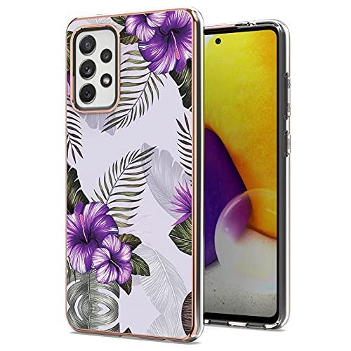 ChoosEU Funda para Samsung Galaxy A72 5G / 4G Silicona Mármol Glitter Creativa Carcasas para Chicas Mujer Hombres, Case Antigolpes Bumper Galaxy A72 5G / 4G Cover Caso Protección - Flor Purpura