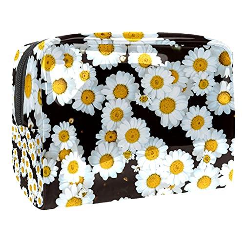 Bolsa de transporte con cremallera, bolsa de maquillaje cosmético portátil para vacaciones, baño y organización (lindos dibujos animados), Chamomile Daisy Flower Field, 18.5x7.5x13cm/7.3x3x5.1in,