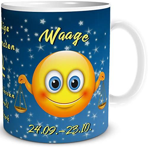 TRIOSK Tasse Smiley mit Spruch lustig Sternzeichen Waage Geburtstagstasse Geschenk für Frauen Männer Arbeit Büro Kollegen Geburtstag