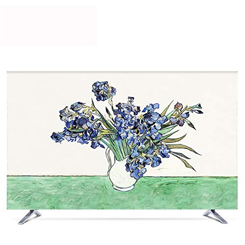 TV Cover Dust Cover, Flower Hanging 55 Inch 50 Curved Surface 65 European Cover Fabric Computer TV Set Wall Hanging (Size : 65in)