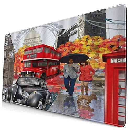LASINSU Alfombrilla Gaming,Londres Pareja Collage Coche Bus Viaje Hito Big Ben Londres Ojos Vacaciones,con Base de Goma Antideslizante,750×400×3mm