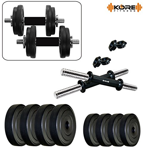 Kore K-PVC 20kg Combo 16 Leather Home Gym and Fitness Kit, (3 kg x 4)+(2 kg x 4)