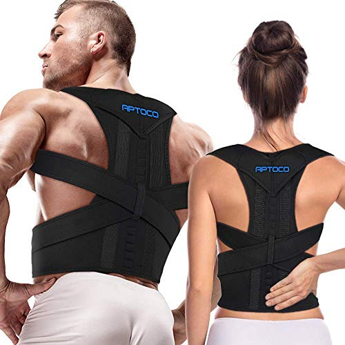 Aptoco Posture Corrector for Men and Women,Back Brace Adjustable Magnetic Support Belt Brace Improve Posture and Provides Lumbar Support for Lower and Upper Back Pain (R-Size, Balck)…