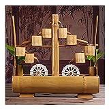 Fuentes de mesa Fuente de agua corriente de bambú Decoración Sala de estar Decoración de escritorio Fuente interior Rueda de agua de la suerte Fuente de escritorio Fuente de escritorio (C), Acces