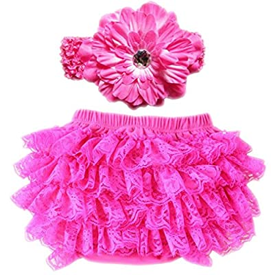 October Elf Baby Girl's Briefs Lace Ruffle Bloomer and Headband Diaper Cover (L(12-24M), ROSEO)