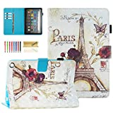 Dteck Case for (10th Generation, 2020 Release) All-New Fire HD 8 /Fire HD 8 Plus Tablet - 3D Cartoon Print Magnetic Closure Smart Stand Wallet Folio Cute Cover with Auto Wake Sleep (Paris Tower)