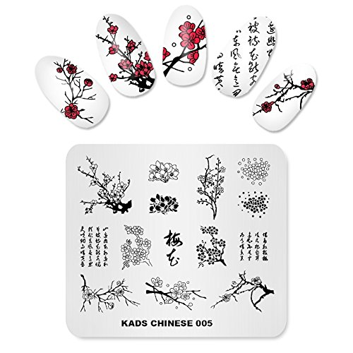 KADS Nail Stamping Plate Stampante per unghie in stile cinese Stamp Template Template DIY Template Manicure Stamping Plate Stencil Tools (CN005)