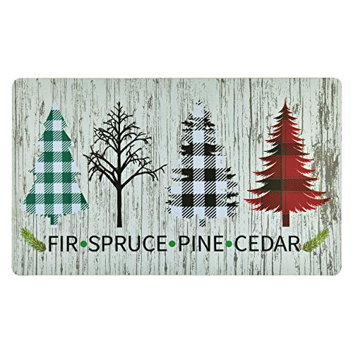 Christmas Area Rug, Christmas Tree Doormat, Xmas Spruce Pine Floor Mat with Rubber Backing Non-Slip for Kitchen Bedroom Living Room Decoration, 18 x 30 inch