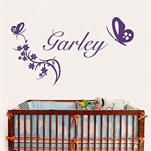 wandaufkleber 3d spiegel Marken-Mädchen-personalisierter Namensreben-Blumen-Schmetterlings-Mädchen-Schlafzimmer-Aufkleber