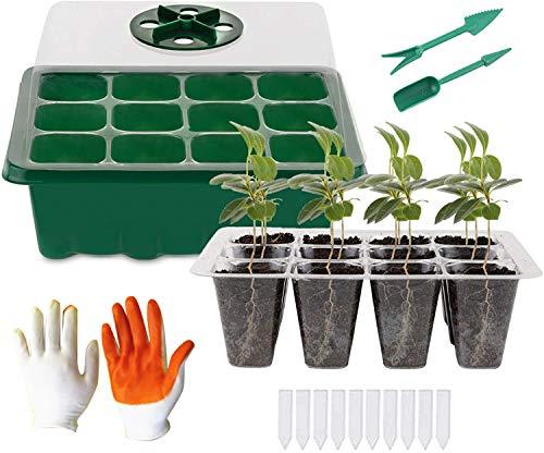 KUWAN Anzuchtkasten Zimmergewächshaus ,Mini Gewächshaus Anzucht Set,Kunststoff Anzuchtschalen Handschuhe mit Gartengeräte Klein und Pflanzenetikett ,12 Löchern (1)
