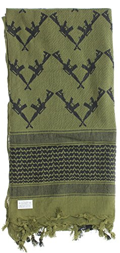 Premium Heavyweight Shemagh Scarf with ARMY UNIVERSE Pin - Crossed Rifles Olive Drab & Black