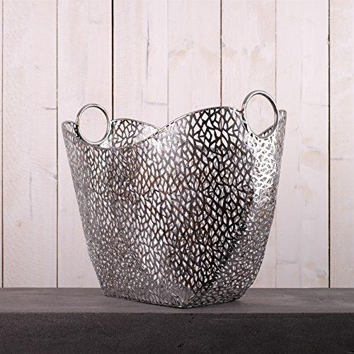 EDLER Design ZEITUNGSKORB Plata Magazinhalter aus Metall antik-Silber