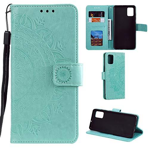 CoverKingz Handyhülle für Samsung Galaxy Note10 Lite - Handytasche mit Kartenfach Galaxy Note10 Lite Cover – Handy Hülle klappbar Motiv Mandala Grün