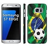 Samsung Galaxy [S7 Edge] Phone Cover, Brazil Flag with Soccer Ball- Black Slim Clip-on Phone Case for [Samsung Galaxy [S7 Edge]]