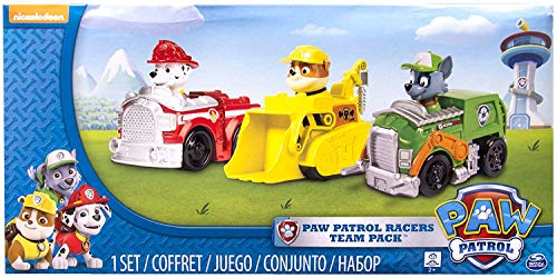 Paw Patrol Racers 3-Pack Vehicle Set, Marshall, Rocky, Rubble,Multicolor