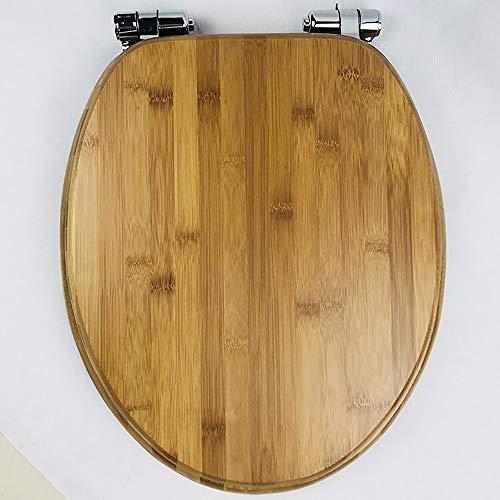 Lin-Yo WC Sitz mit Absenkautomatik Toilettendeckel,Massivholz Bambus Nussbaum,Absenkautomatik Verstellbarer Scharnier Toilettendeckel für Familienbadezimmer,Einfach zu montieren