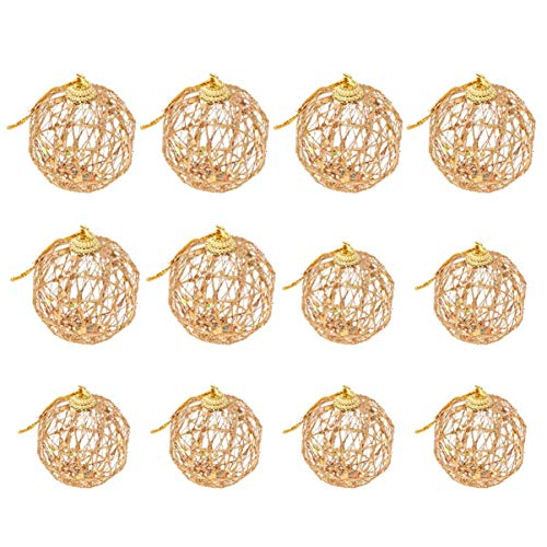 MxZas 12 PCS Christmas Glitter Palla di Natale Appeso a Sospensione for Xmas Tree Ornament Holdiay Festa a casa Hanging favori della Decorazione Jzx-n