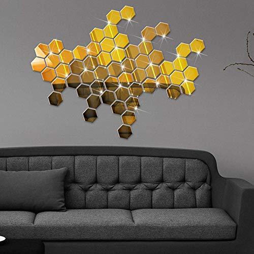 WHFDRHQT Wandtattoo Wandauf kleber 12Pcs 3D Spiegel Hexagon Vinyl entfernbare Wand-Aufkleber-Abziehbild Hauptdekor-Acryl gespiegelter dekorativer Aufkleber-Spiegel-Wand-Aufkleber silbrig