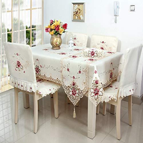 ZhangL tafelkleed, geborduurd, voor thuis, van polyester, tafelkleed in landelijke stijl 30*45CM Roze.