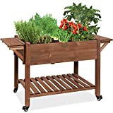Best Choice Products 57x20x33in Mobile Raised Garden Bed Elevated Wood Planter Box Stand for Backyard, Patio w/Folding Side Tables, Locking Wheels - Brown