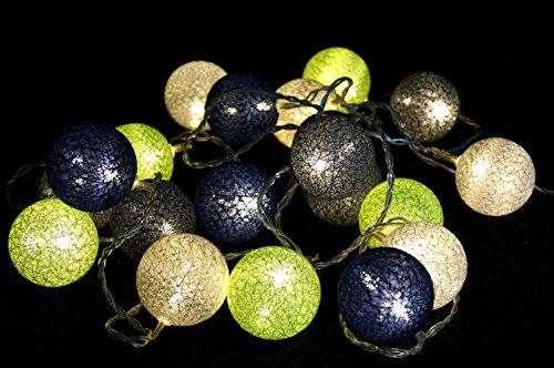 Guru-Shop Stoff Ball LED Kugel Lampion Lichterkette `modern Colours` - Grün/blau/grau, Baumwollfäden, Stimmungsleuchte, Dekorative Girlande, Partylichterkette