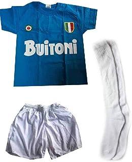 fruit of the loom stampata contattaci per cambio taglia, Conjunto C3 de calcetines cortos blancos, camiseta de algodón azul con estampado de buitoni recuerdo Nápoles Maradona regalo amuleto cuernos