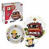 Sam, el bombero Juego de Desayuno de Porcelana Plato, Tazón y Taza