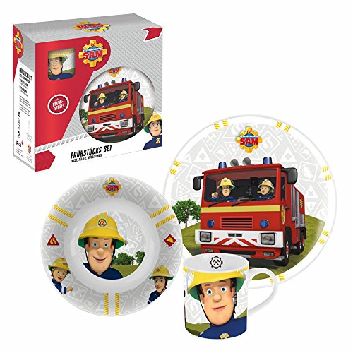 Feuerwehrmann Sam Geschirr-Frühstück-Set 3-Teilig | Porzellan