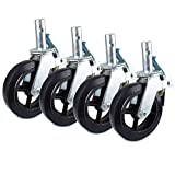 Set of 4 RK Scaffold 8'x2' Black Rubber Mold-on Steel Caster Wheel with Brake