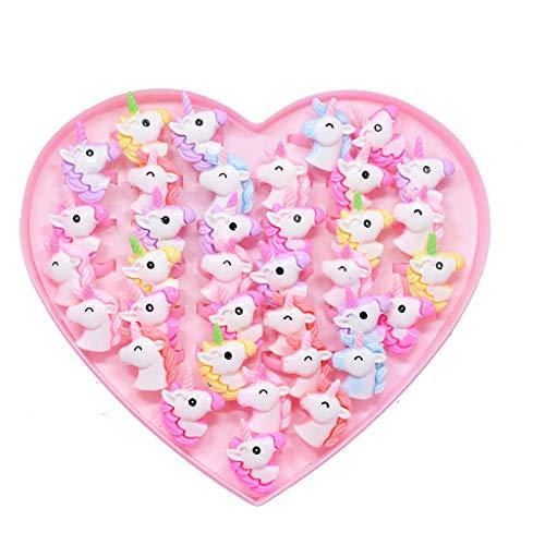Amycute 36 Stück Kinderringe Mädchen Einhorn Ringe Set ,Einhorn Party,Cartoon Kindergeburtstag Party Geschenk für Mädchen&Jungen,Verstellbare Acryl Fingerringe.