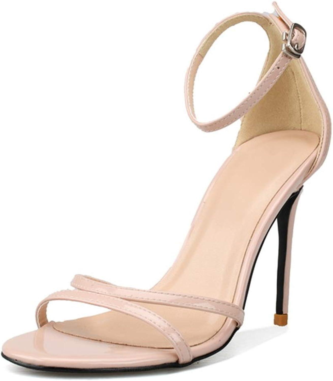 Glintare Frauen Klassische Kleid Sandalen Sexy (Farbe   Nackt, Größe   33 EU)