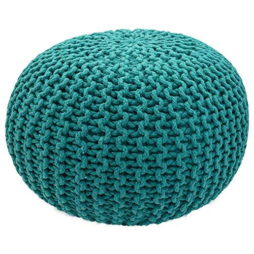 casamia Pouf Ø 55 cm Strickhocker Sitzpouf Sitzpuff Bodenkissen Grobstrick-Optik extrahoch Höhe 37 cm Farbe grün