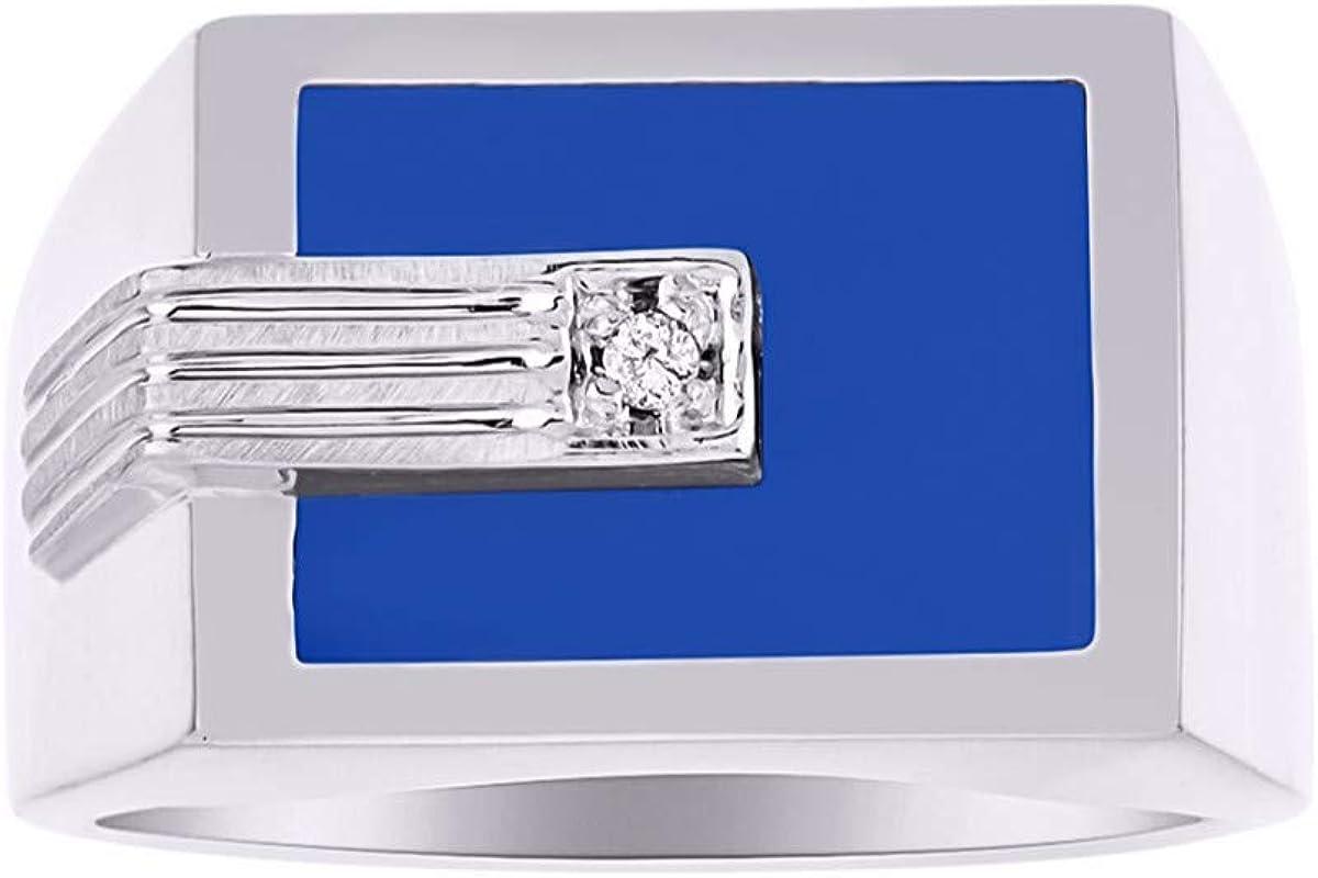 Anillo de plata de ley con diamantes para hombre y ónix azul/cuarzo azul/ágata azul.