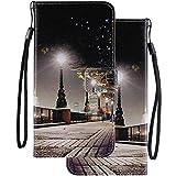LEMORRY Sony Xperia XZ3 ケース カバー 手帳型 LEMORRY レザーフリップウォレットポーチスリムフィットバンパー保護磁気ストラップスタンドカードスロットソフトTPUカバーケース Sony Xperia XZ3, 景色 絵