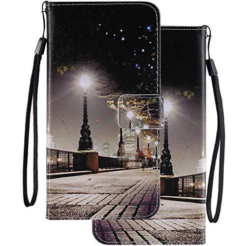 LEMORRY Handyhülle für Huawei Honor Play 8A / JAT-L29 Hülle Leder Tasche Beutel Schutz Magnetisch Stehen mit Kartenschlitz Weich Silikon Flip Cover Schutzhülle für Honor Play 8A, Nachtszene