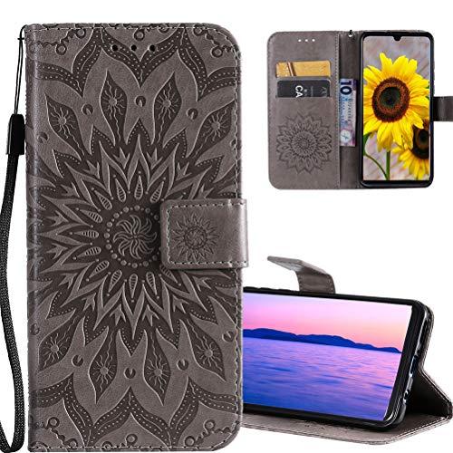 COTDINFORCA Hülle für LG K61 Hülle Flip PU Leder Schutzhülle Magnet Handytasche Bookstyle Kartenfächer Lederhülle Handyhüllen für LG K61 Gray Sunflower KT.