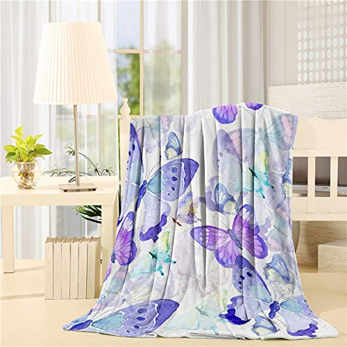 Manta de franela de forro polar con diseño de mariposas, súper suave, de microfibra para sofá cama, sofá de 50 x 80 pulgadas, ultra lujosa, cálida y acogedora, acuarelas, arte moderno