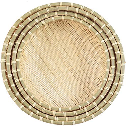 Natural Bamboo Basket | Wicker Baskets in Use of Fruits Basket, Bread Baskets For Serving, Bread Baskets For Table, Shallow Basket, Round Wicker Basket | Fruit Basket (Bamboo Basket-Set 4-Nature)