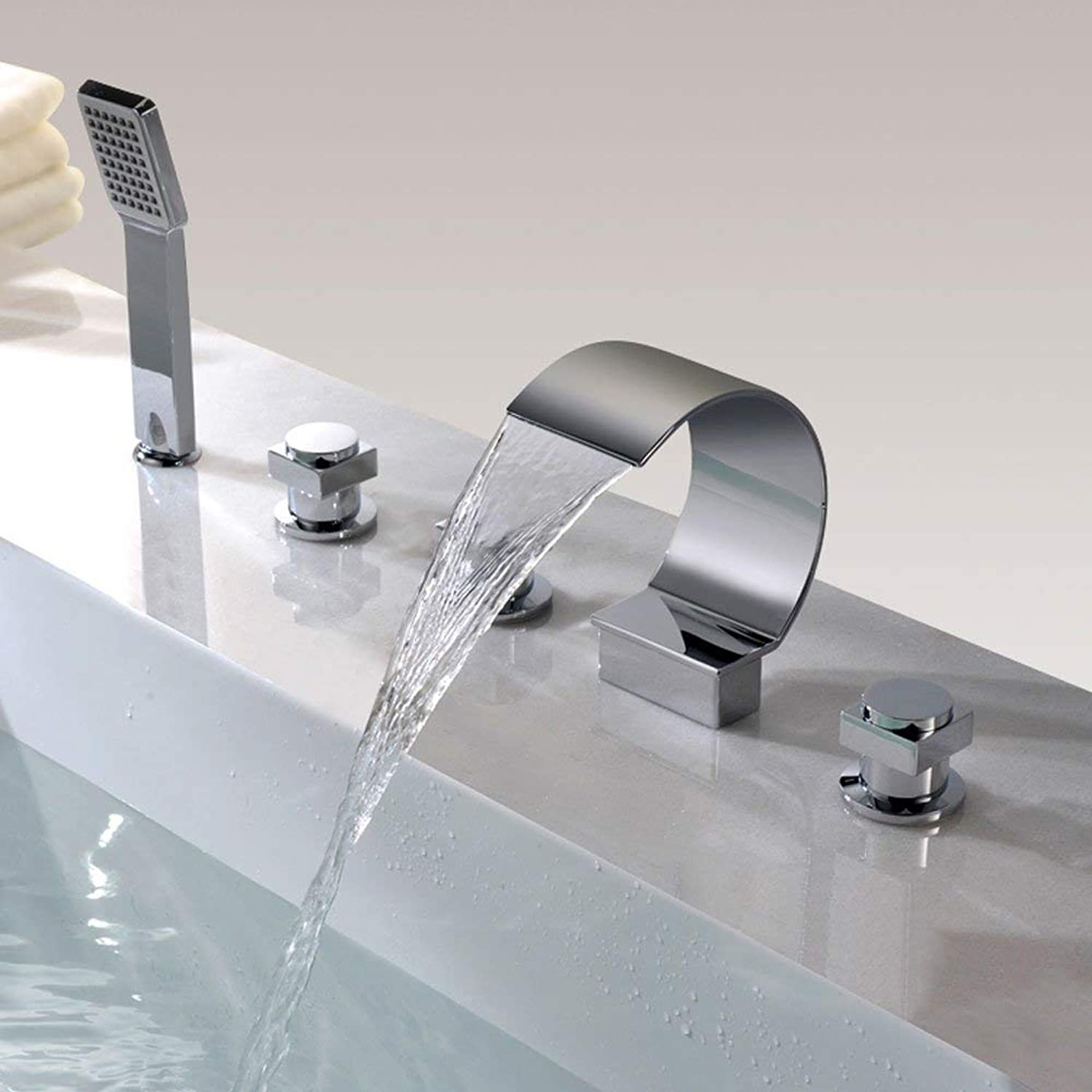 BMY High-end Home Bathroom Hot And Cold 5PCS Waterfall Bathtub Faucet