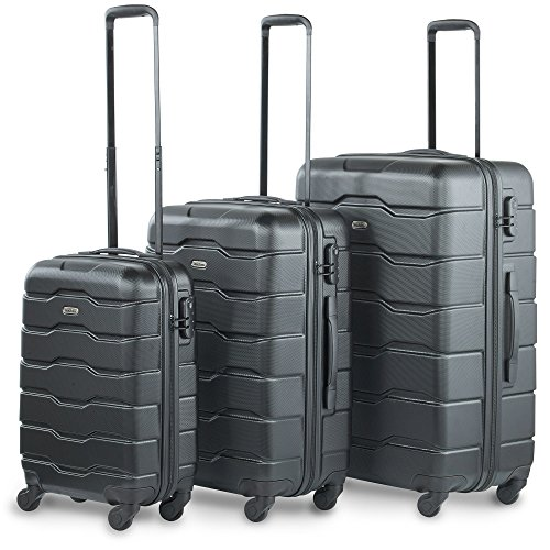 "VonHaus Luggage Set of 3 Lightweight Suitcases 4 Wheel ABS Hard Shell Black Suitcases - 360° Spinner - Cabin Travel Trolley – (21"" 25"" 29"")"