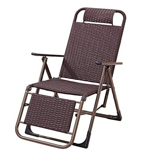 YLCJ Opvouwbare chaise longue in rieten ligstoel bruin opklapbaar (kleur: ronde voeten) Rechte voet