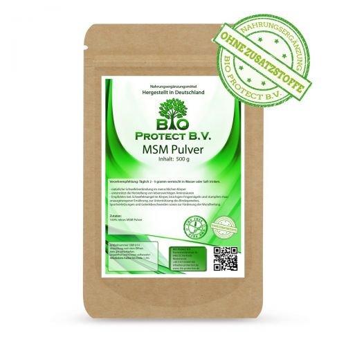 MSM Pulver 500g - 99,9% rein - Ohne Zusatzstoffe - Vegan - 1/2 kg Premium MSM - Methylsulfonylmethan - Organischer Schwefel von Bio Protect