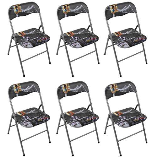 Milani Home s.r.l.s. Set di 6 Sedie Slim Pieghevoli New York di Design con Comoda Imbottitura nella Seduta per Ospiti,...