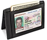 Slim Leather Bifold Front Pocket Wallet Credit Card Holder with 2 ID Window RFID Blocking - Black