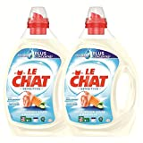 Le Chat Sensitive - Lessive Liquide - Lait d'amande douce et Marseille - 80 Lavages (Lot de 2 x 2L)