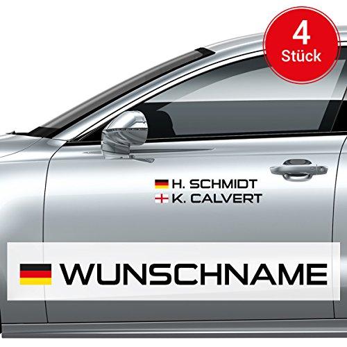 Motoking Autoaufkleber Name & Flagge - 4 Stück - Ihr Wunschname im Rallye-/Racing-Design - Wähle Größe & Farbe